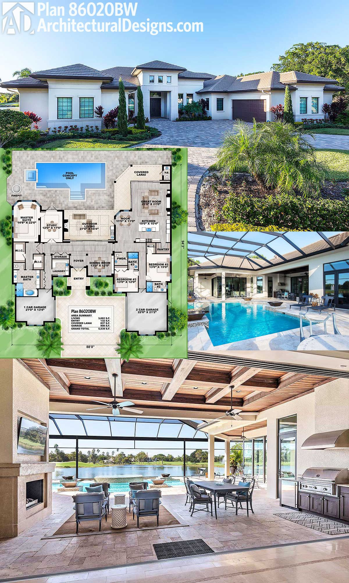 Florida House Plans with Pool Luxury Plan Bw Florida House Plan with Open Layout