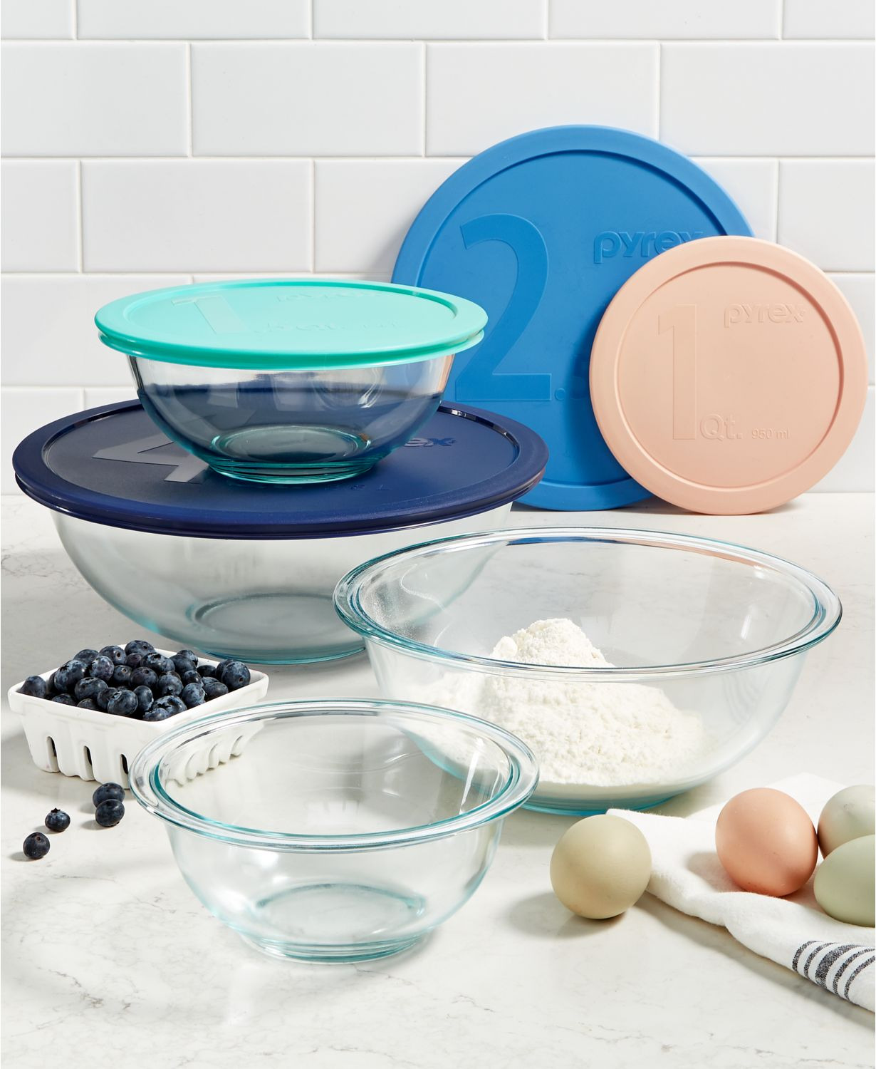 pyrex 8 piece glass mixing bowl set 4 bowls 4 lids 14 99 pyrex 12 piece glass storage set 6 bowls 6 lids 14 99 at macy s free shipping on 25