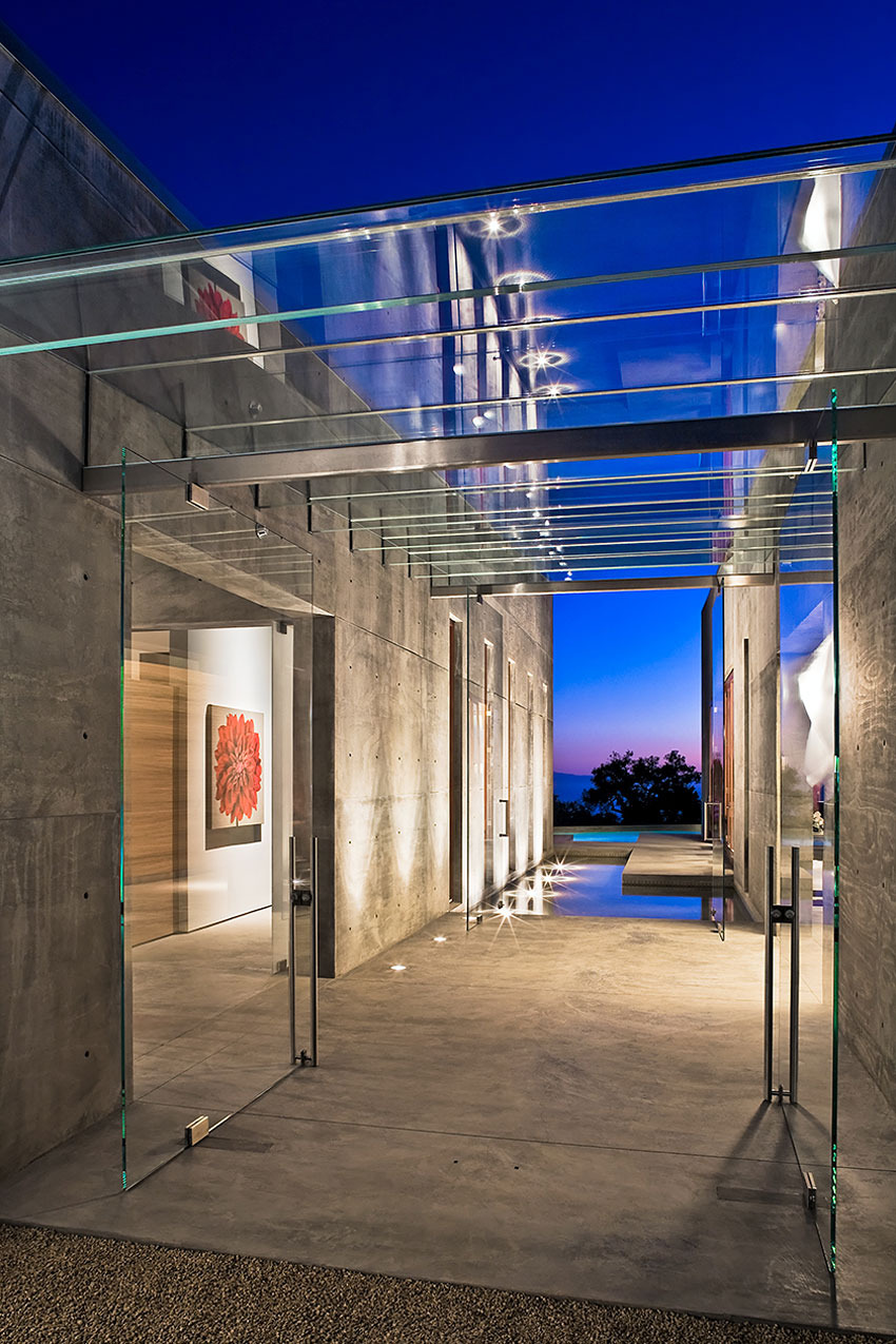 Glass Entrance Doors Ceiling Water Feature Concrete House in Montecito