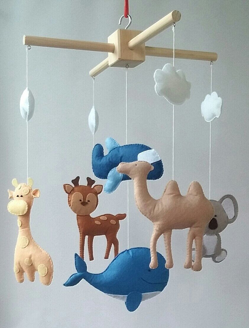 Handmade Mobiles for Baby Cribs Awesome Animals Mobile Cot Mobile Baby Crib Mobile Nursery Felt