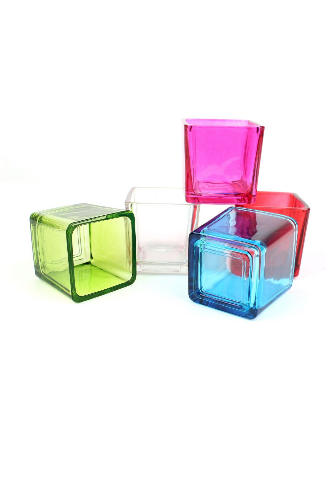 square glass tealight holders coloured glass candle holders set of 6 [3] 2922 p
