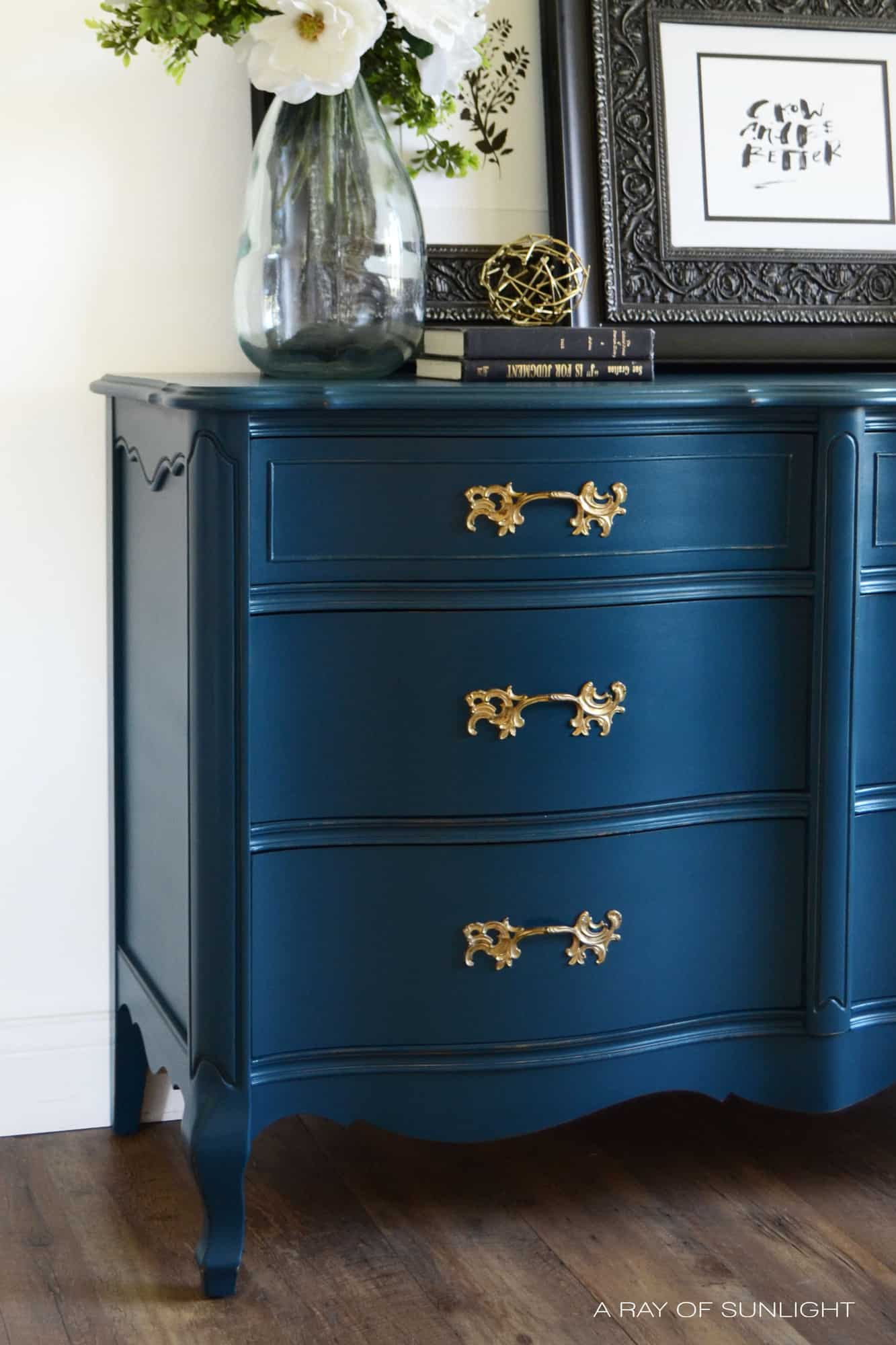 Navy Blue French Provincial Dresser with Gold Hardware in Country Chic Paint by A Ray of Sunlight 5