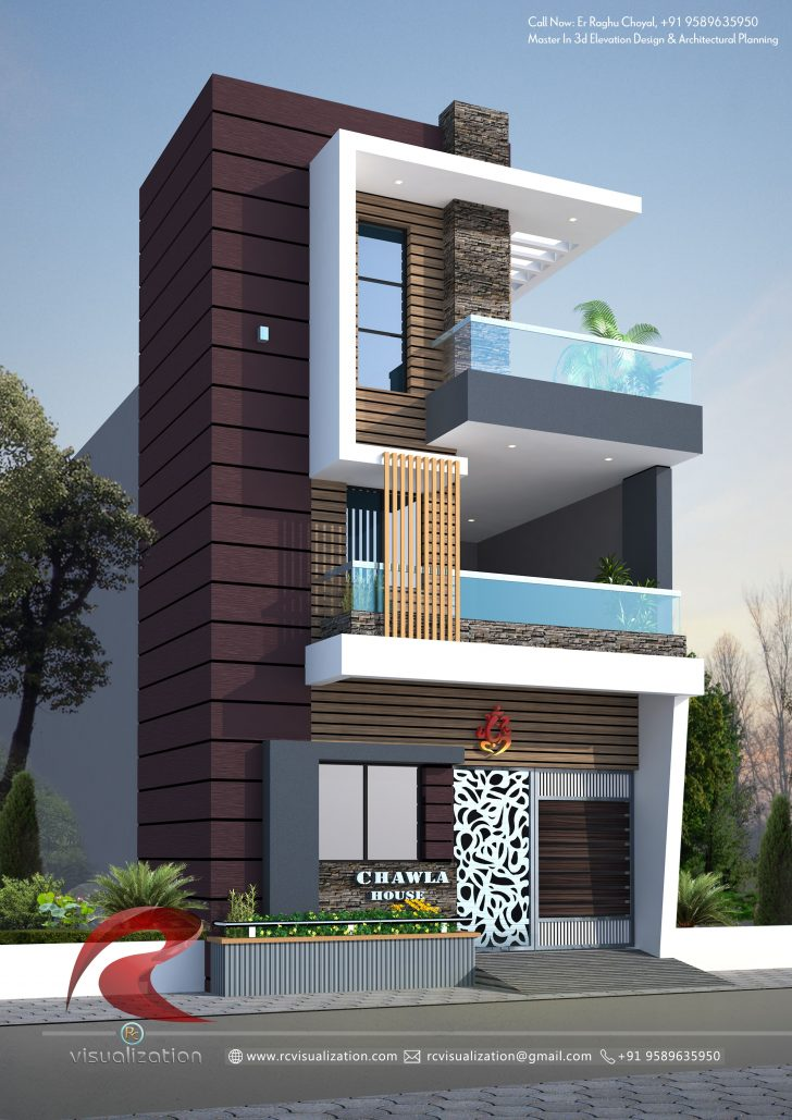 House Elevation for Three Floors Building 2021