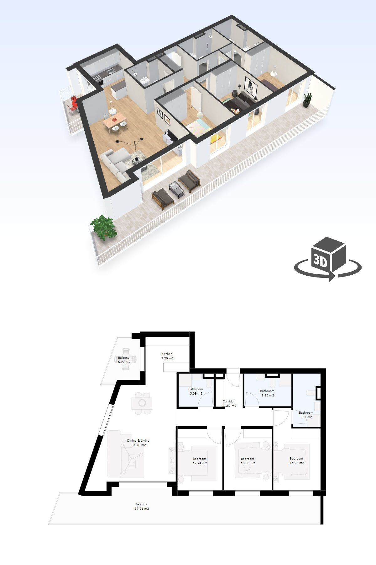 House Models and Plans New 3 Bedroom Apartment Interactive 3d Floor Plan Model