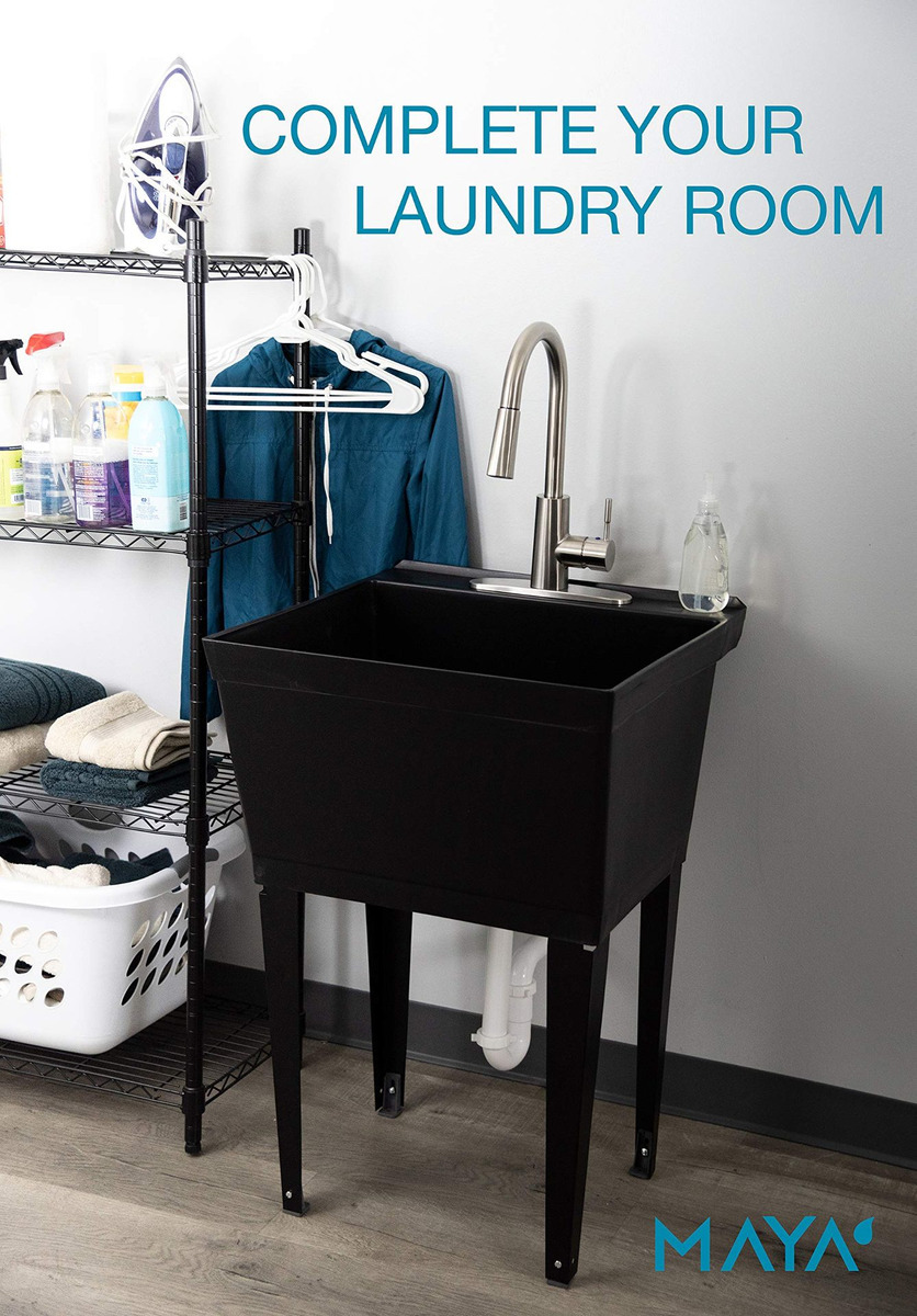 Laundry Tub Faucet with Pull Out Spray Inspirational Black Utility Sink Laundry Tub with High Arc Stainless Steel