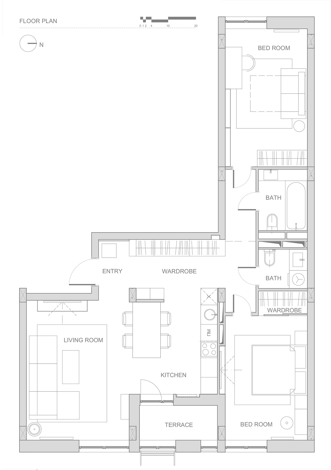 double bedroom l shaped home design 2 examples with floor plans