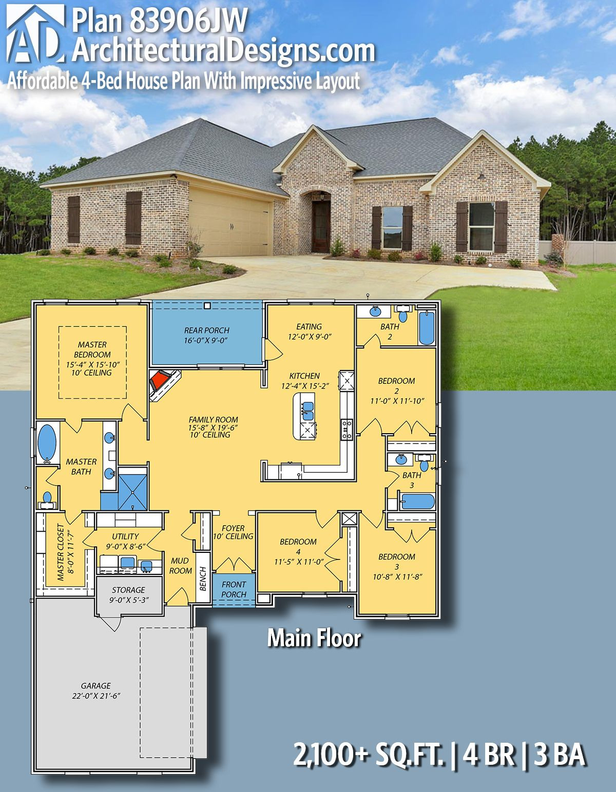 Low Price House Plans Lovely Plan Jw Affordable 4 Bed House Plan with Impressive