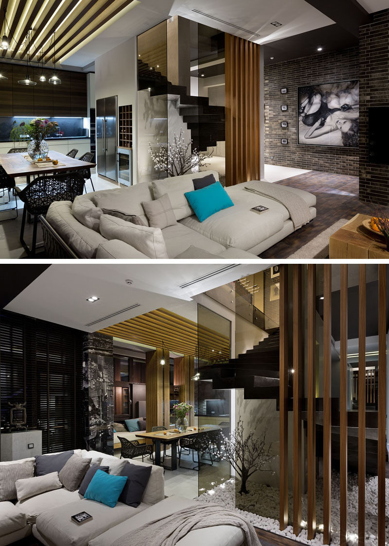 Modern Apartment Living Room Ideas Black Fresh Materials Like Dark Brick Wood and Glass are Used In the