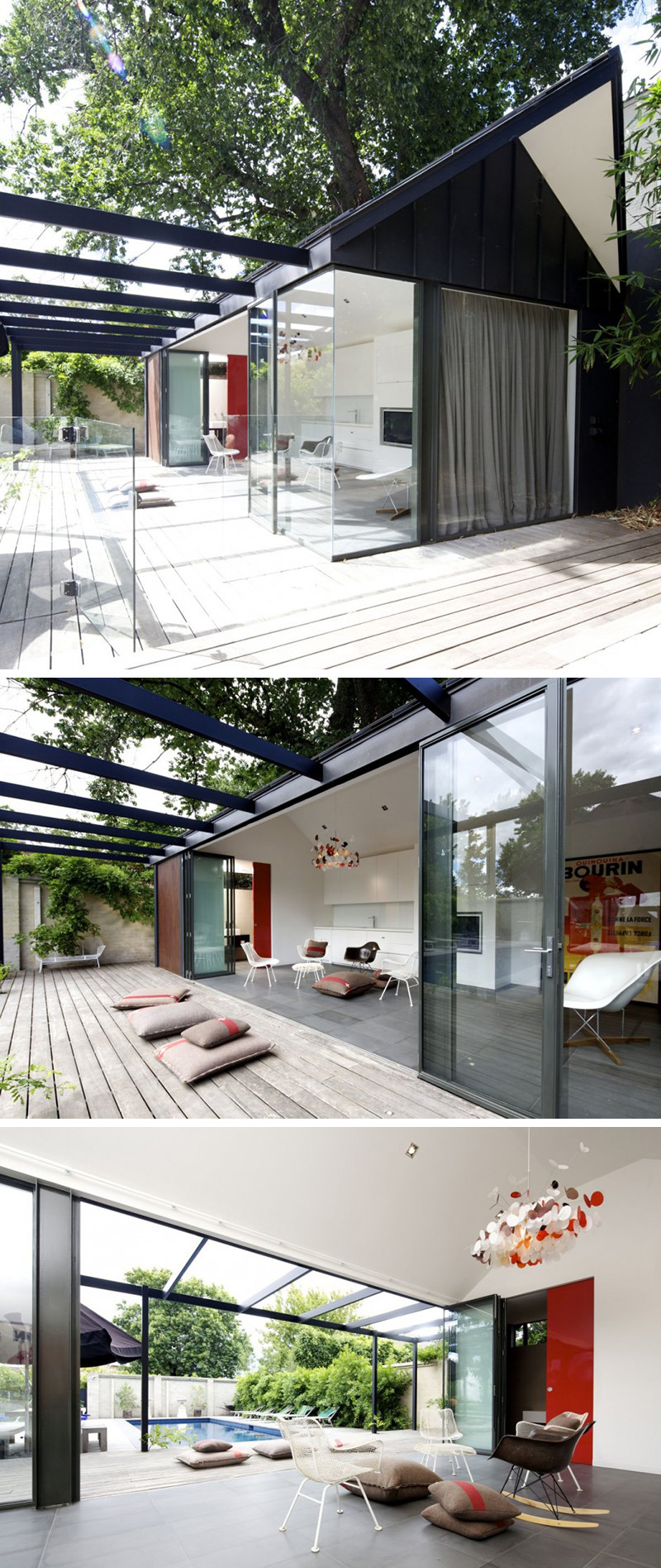 modern outdoor pool house black beams architecture 915 02