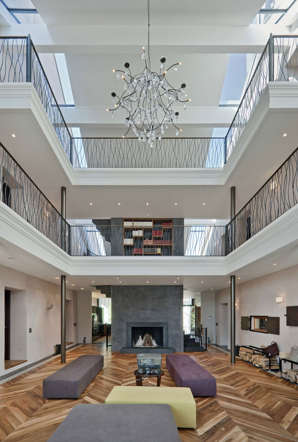 Living Room High Ceilings Fireplace Farmhouse Conversion in Genf Switzerland