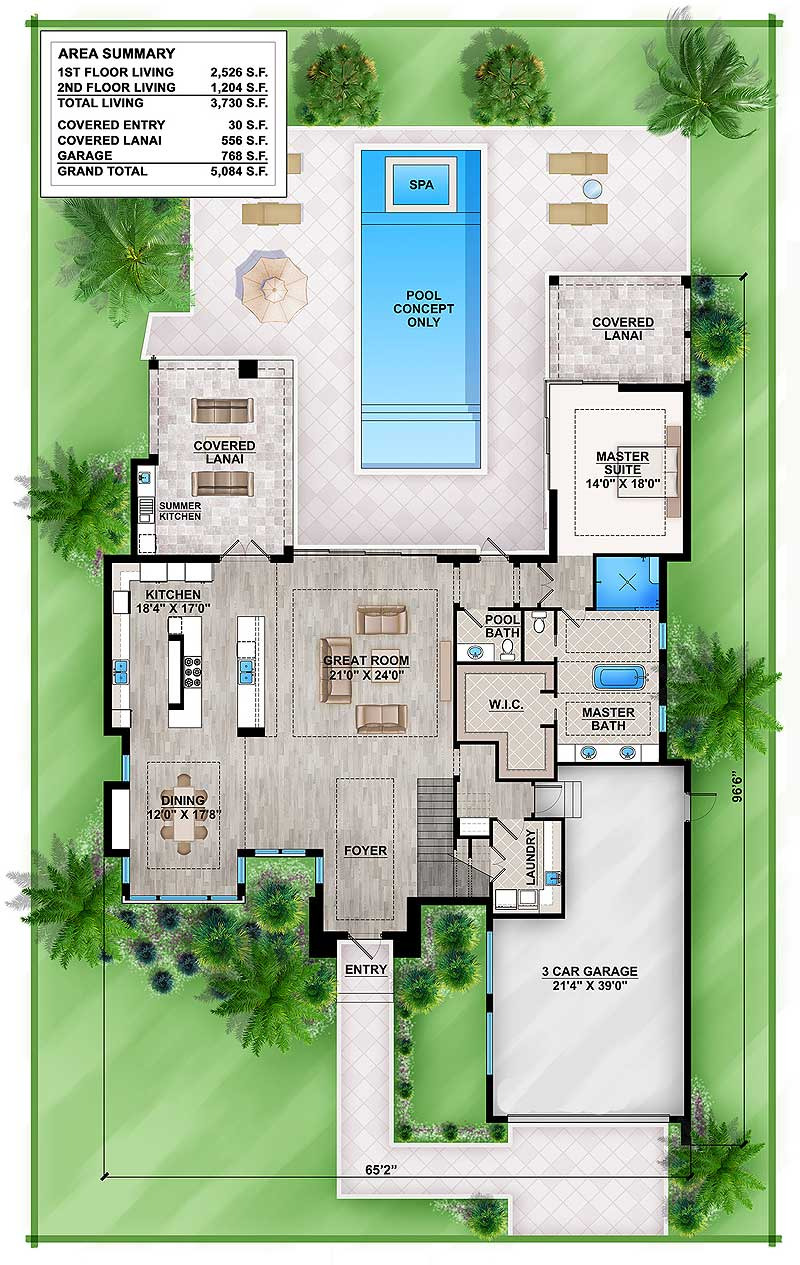 master down modern house plan with outdoor living room bw