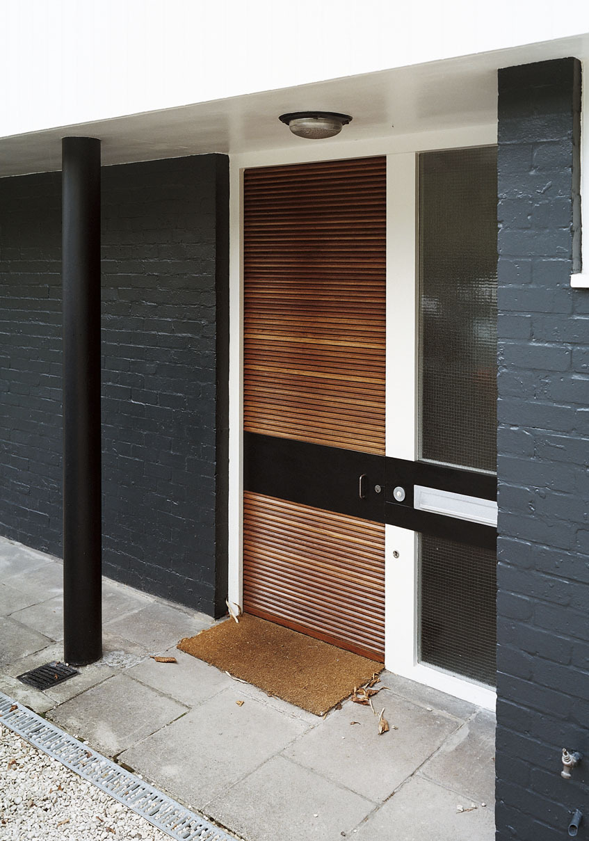 slatted modern entry door