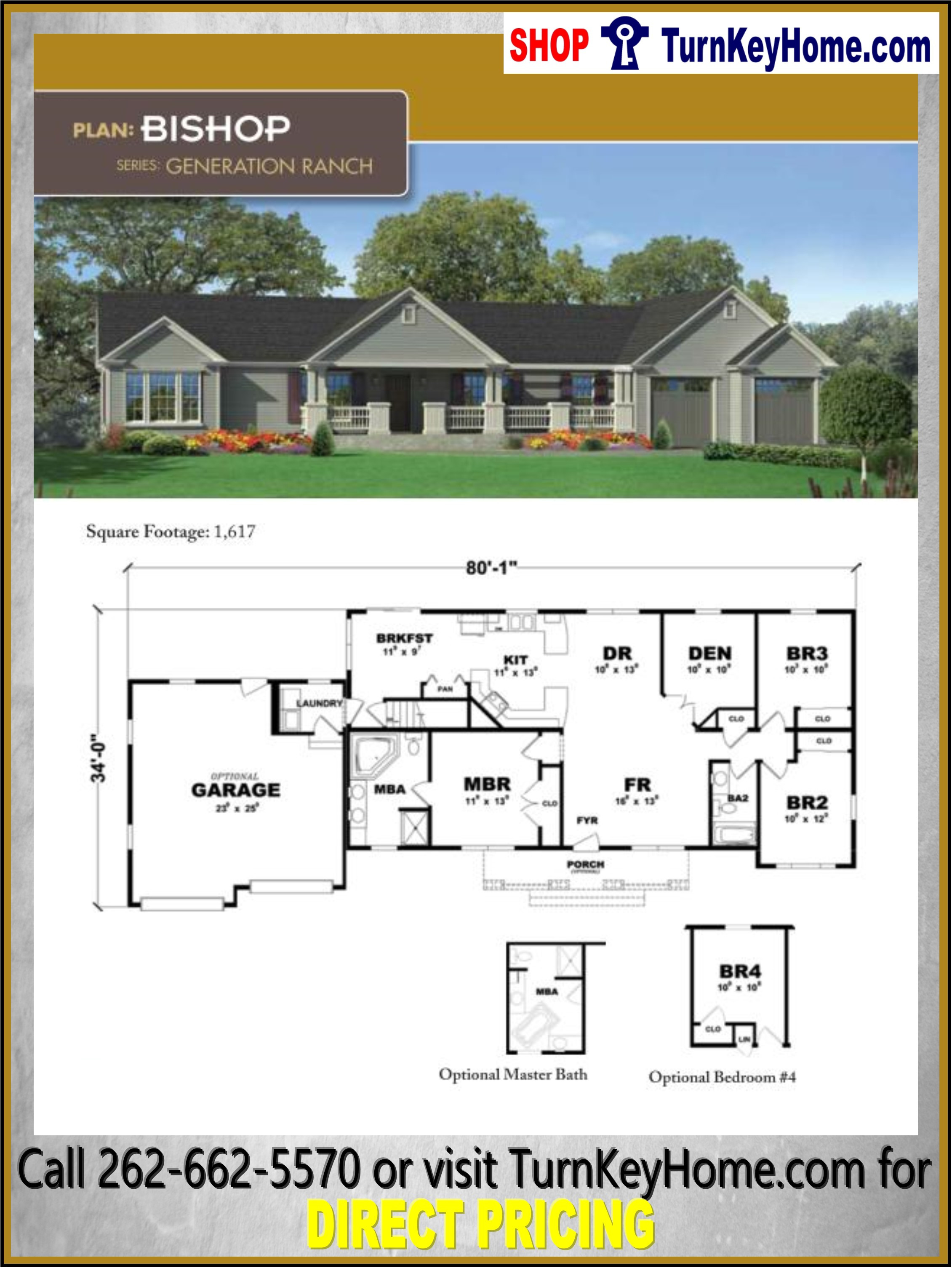 Modular House Plans with Prices Luxury Bishop Ranch Home 3 Bed 2 Bath Plan 1617 Sf Priced From
