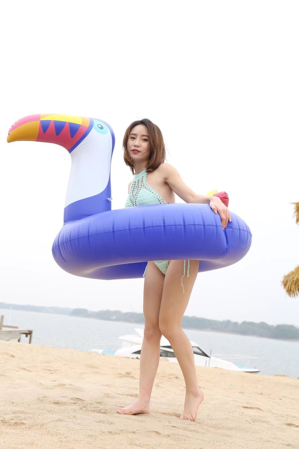 Huge Blue toucan swimming ring Inflatable woodpecker pool float Inflatable toucan float women swimming circle size