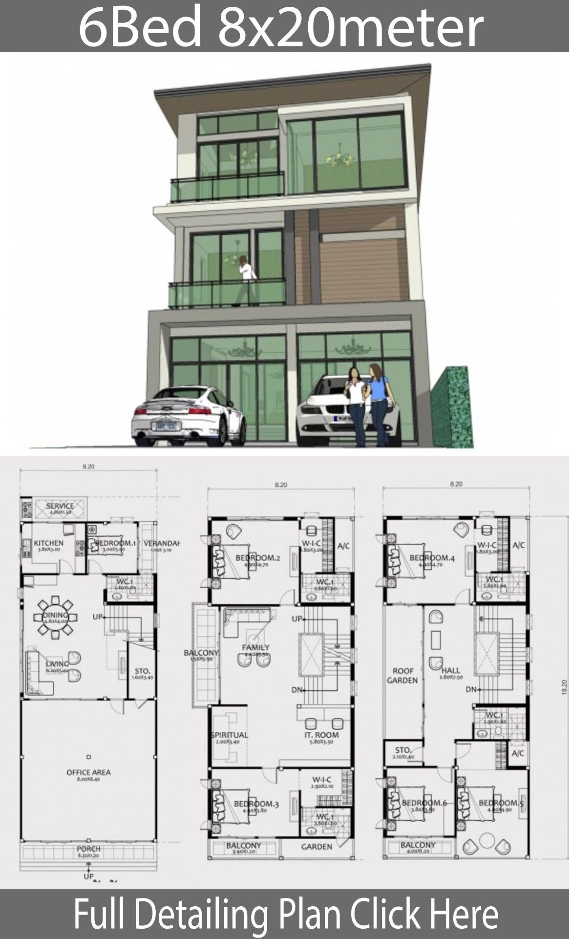 Residential House Design Plans Elegant Home Design Plan 8x20m with 6 Bedrooms