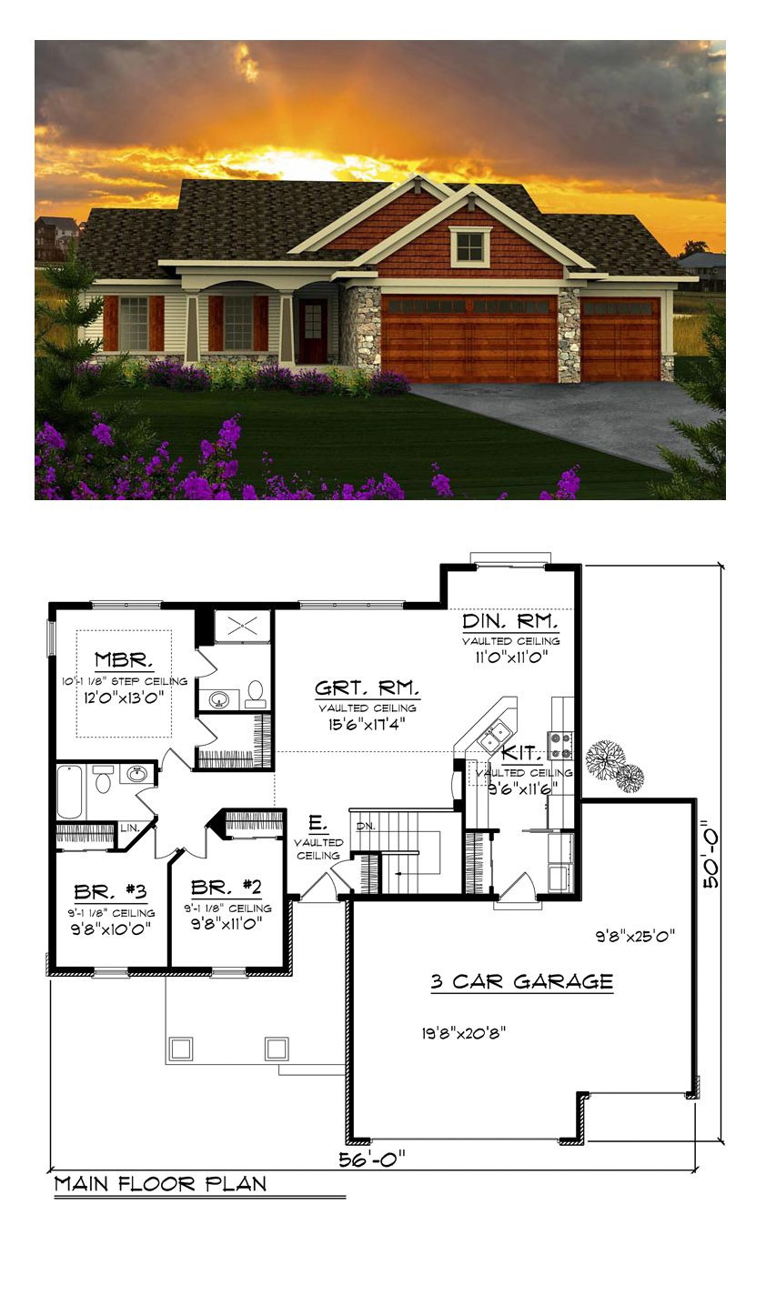 Small Rambler House Plans Elegant Ranch Style House Plan with 3 Bed 2 Bath 3 Car