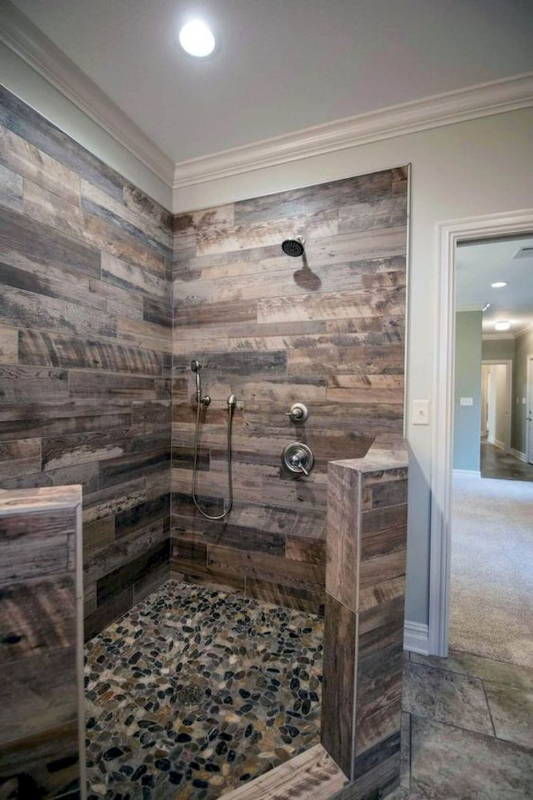 rustic master bathroom walk in shower design ideas to copy23