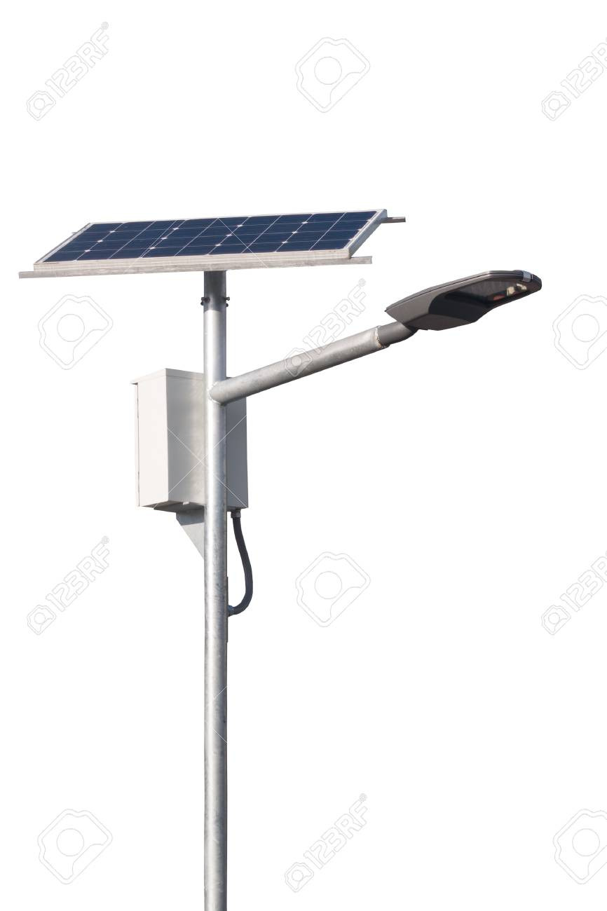 photo led street lamps post with solar cell on white background