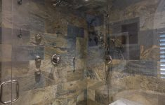Stone Walk In Shower Beautiful Bathroom Remodel With Classic Tub And Stone Tiled Walk