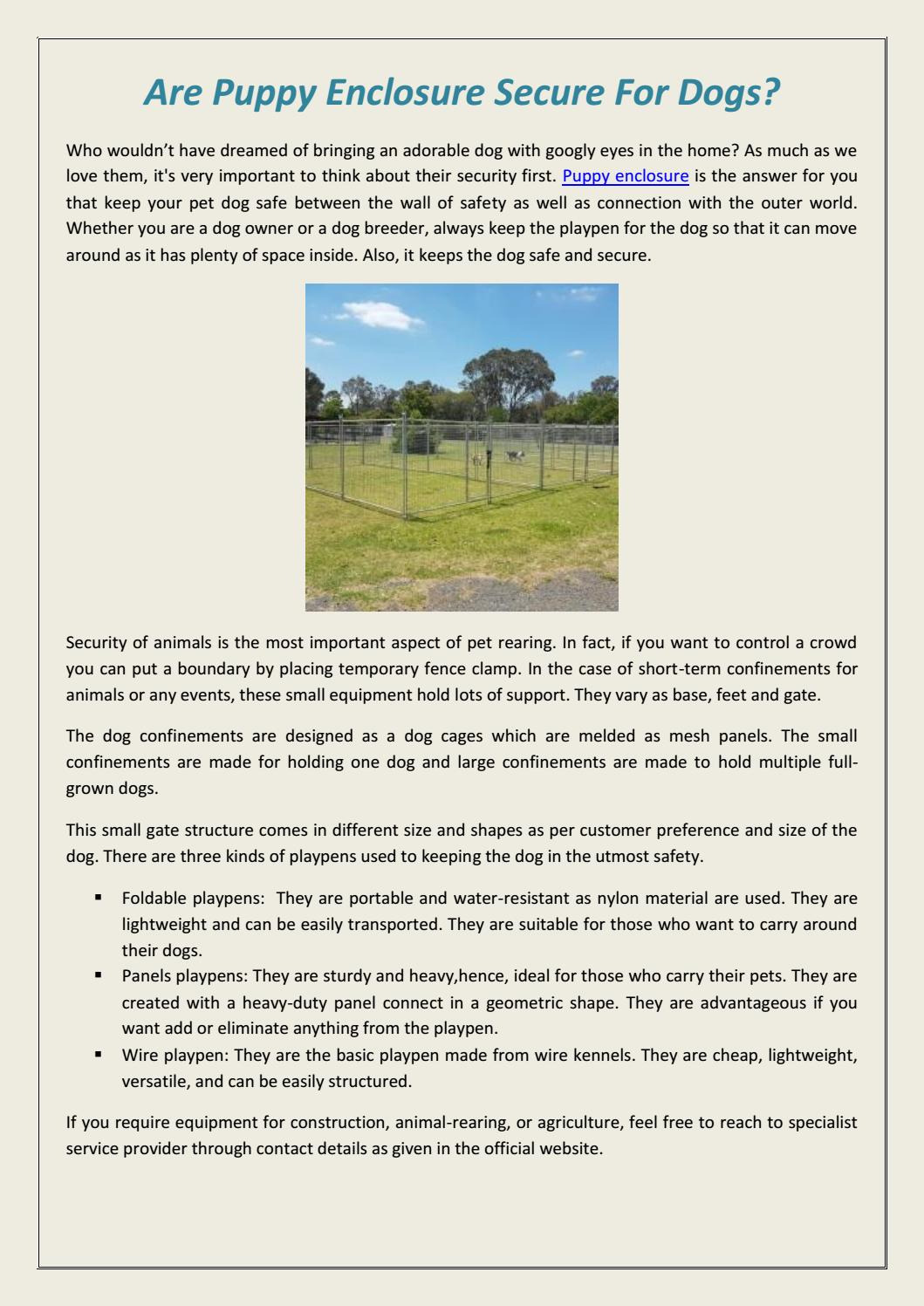 Temporary Small Dog Fence Inspirational are Puppy Enclosure Secure for Dogs by Roger Creigh issuu