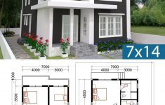 Three Bedroom House Plan And Design Unique 3 Bedrooms Home Plan 7x14m