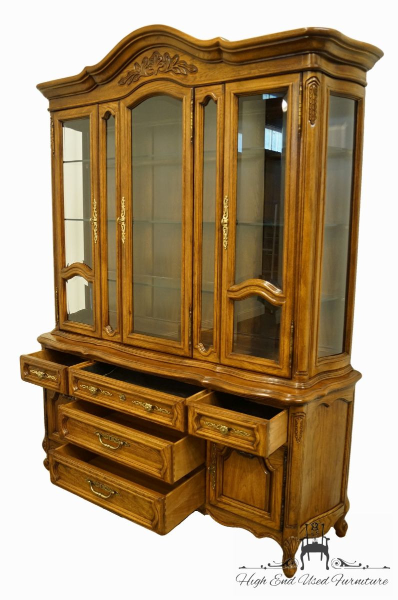 unique furniture country french provincial 67 buffet w illuminated display china cabinet 2433