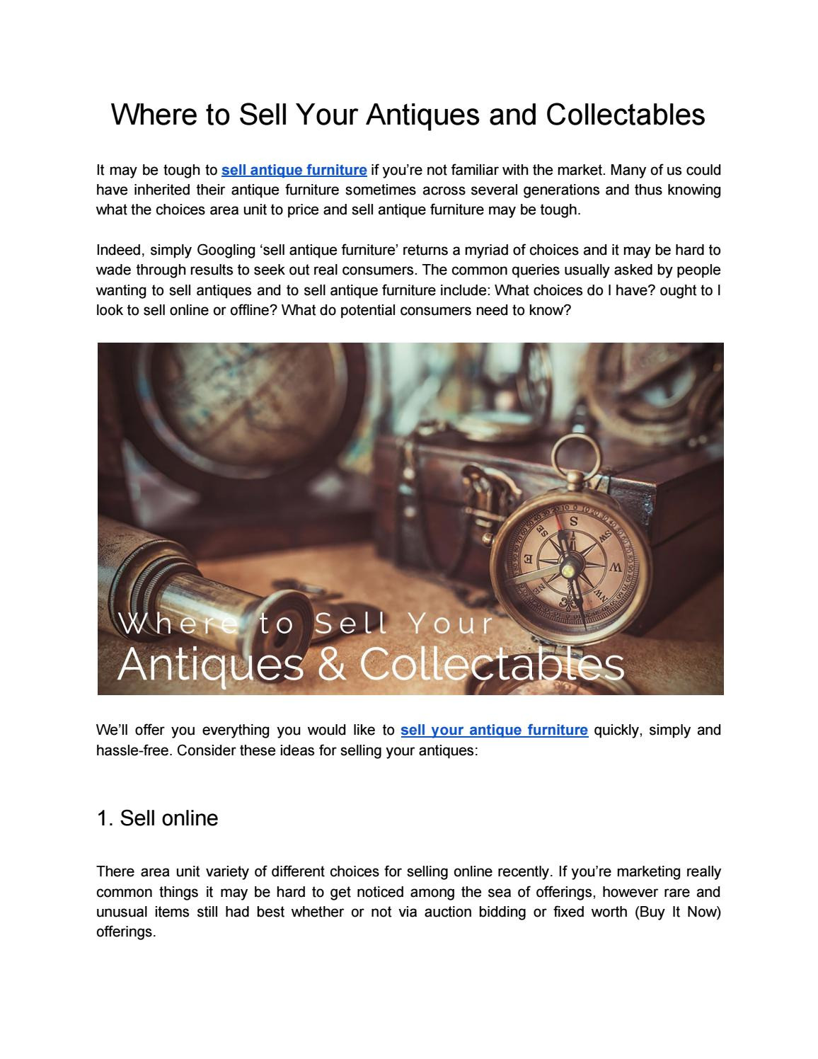 where to sell your antiques and col