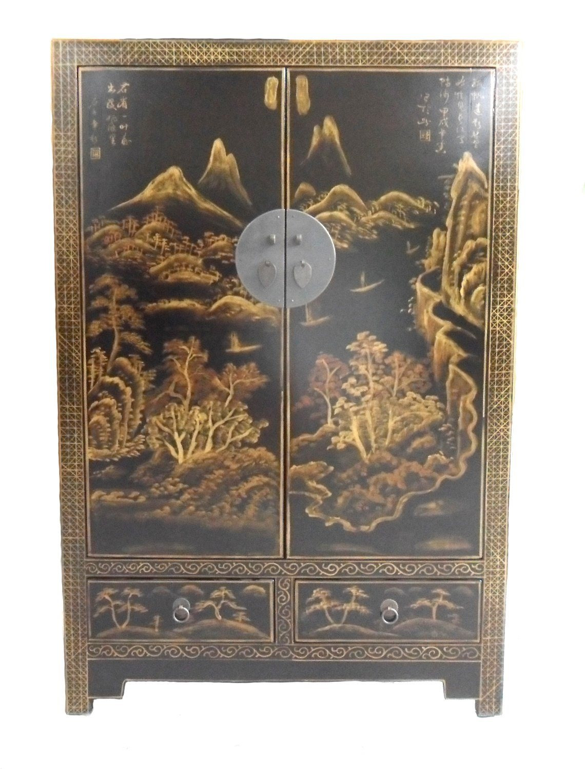 Antique Chinese Reproduction Wooden Painted Wardrobe Lwb866