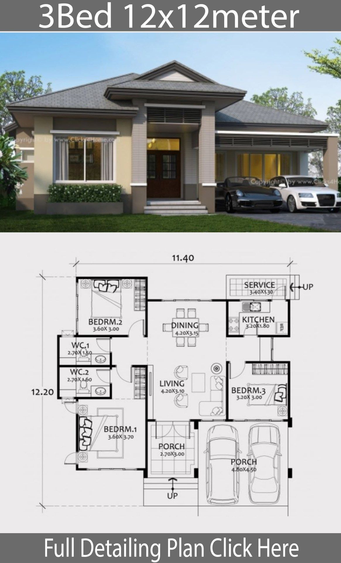 1 Floor House Design Lovely Home Design Plan 12x12m with 3 Bedrooms