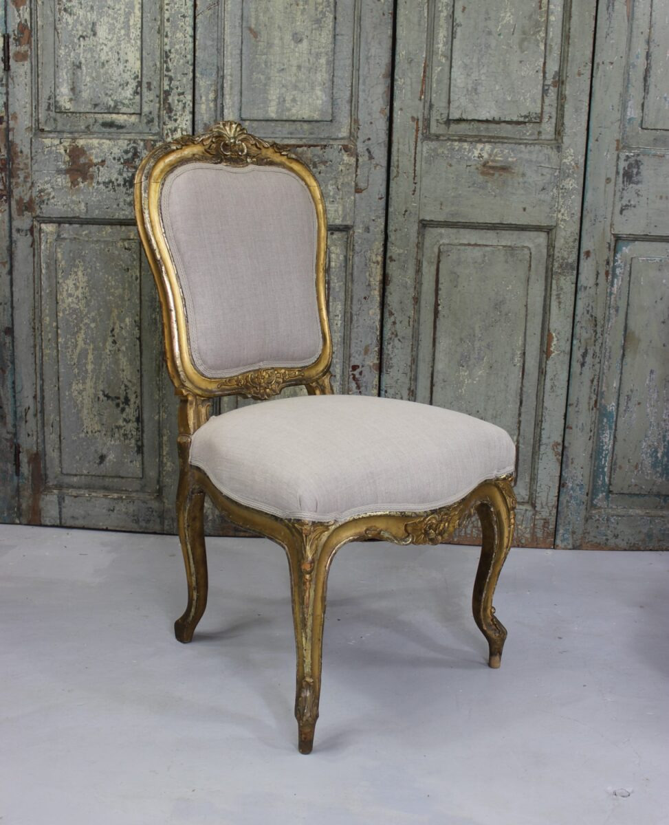 pair of beautiful antique french rococo chairs from the mid 19th century
