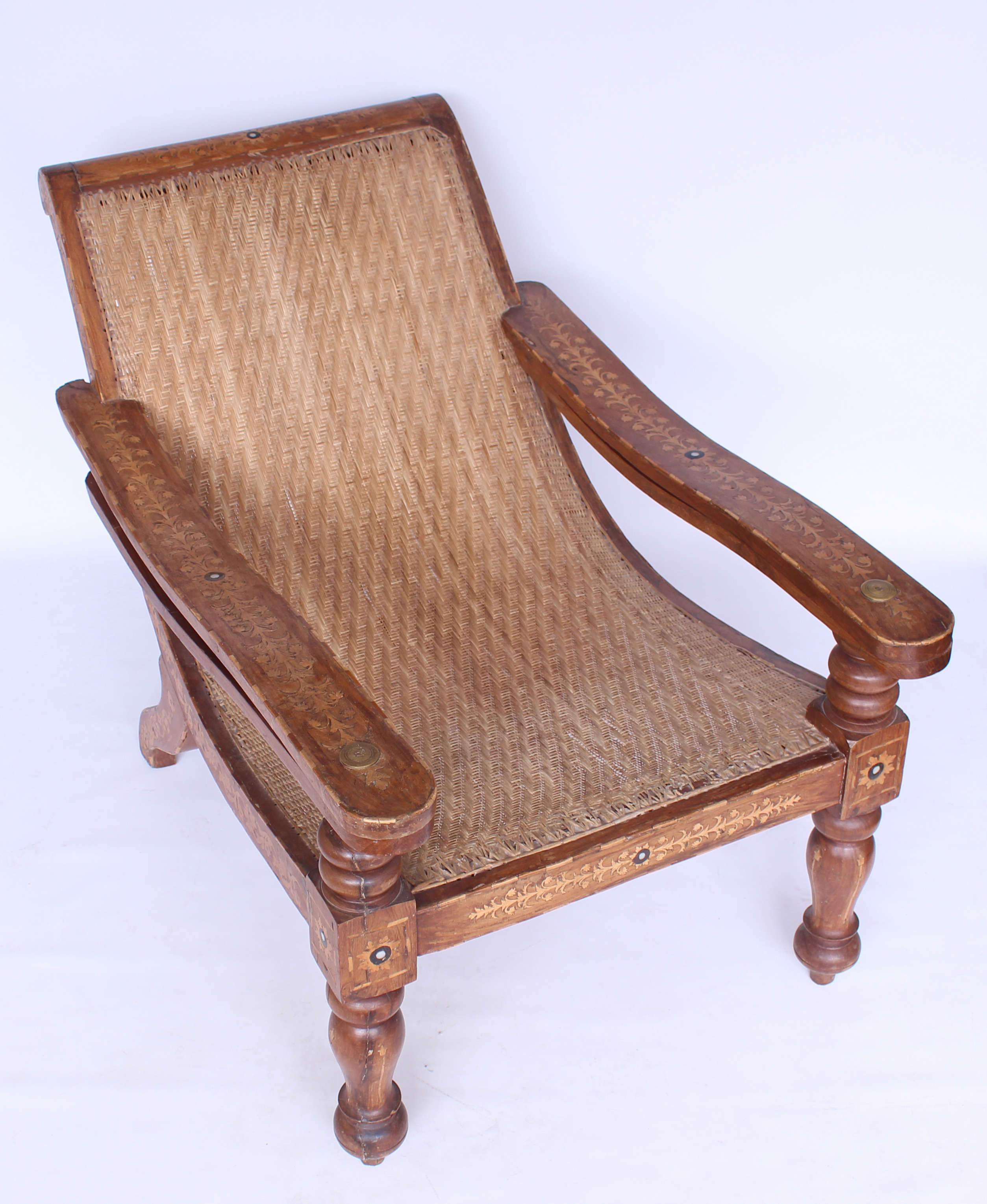 19th century antique colonial plantation large cane and teak chair vintage 0