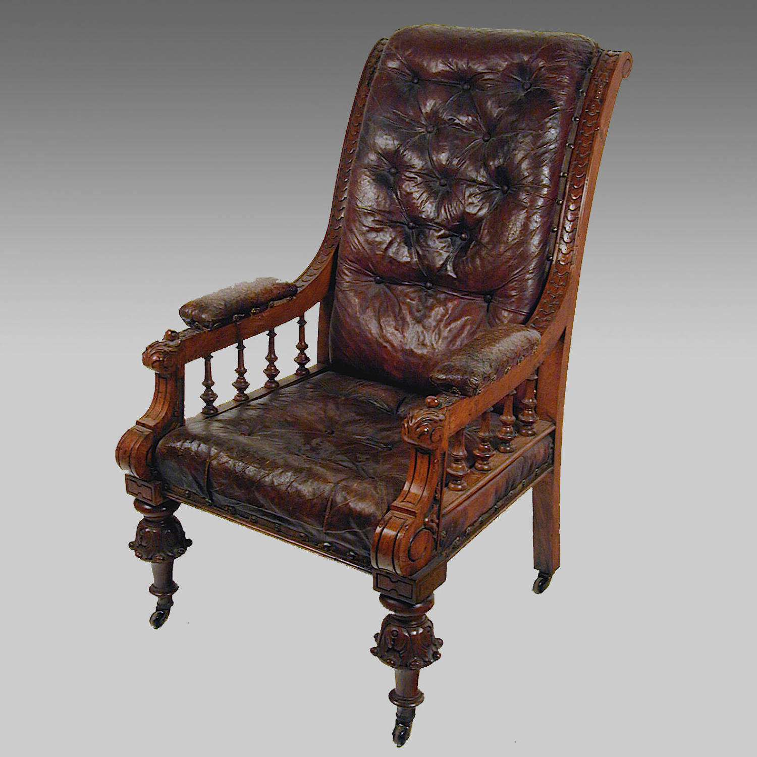 antique 19th century oak and leather upholstered library armchair main size3