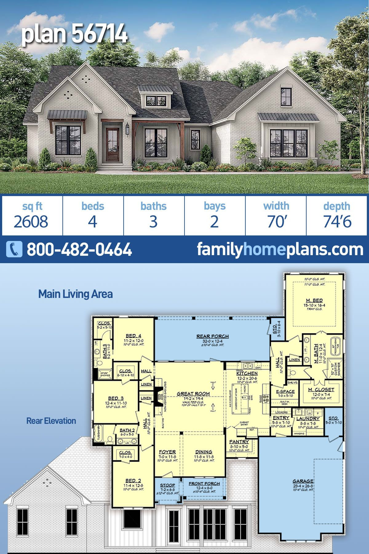 traditional style house plan with 4 bed 3 bath 2 car garage
