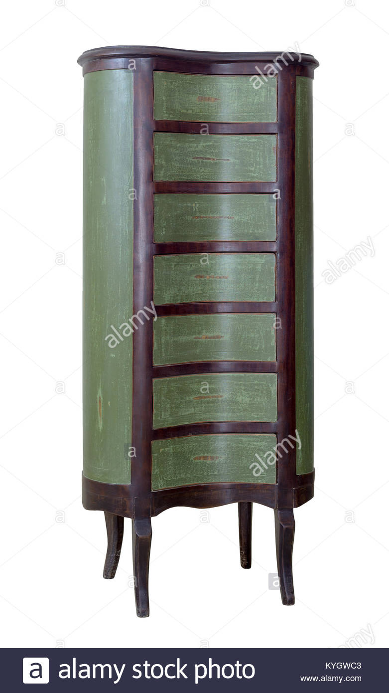 vintage furniture retro wooden antique seven drawer chest painted KYGWC3