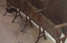 Antique Cast Iron Furniture New Antique Folding Cast Iron Church Chairs Wood Row Of 4