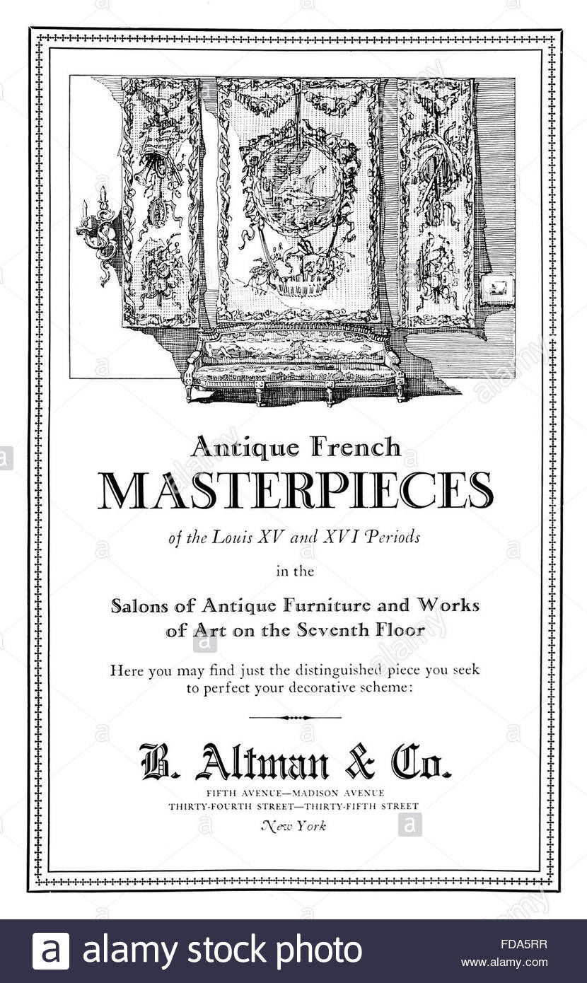 stock photo b altman co antique french furniture sale advertisement from 1926