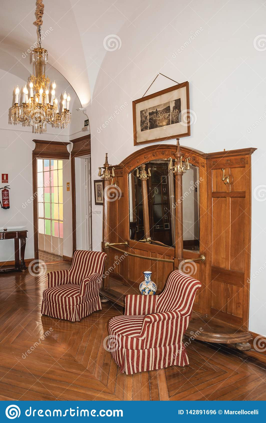 living room antique furniture historical building caceres spain july doors old cute charming town fully