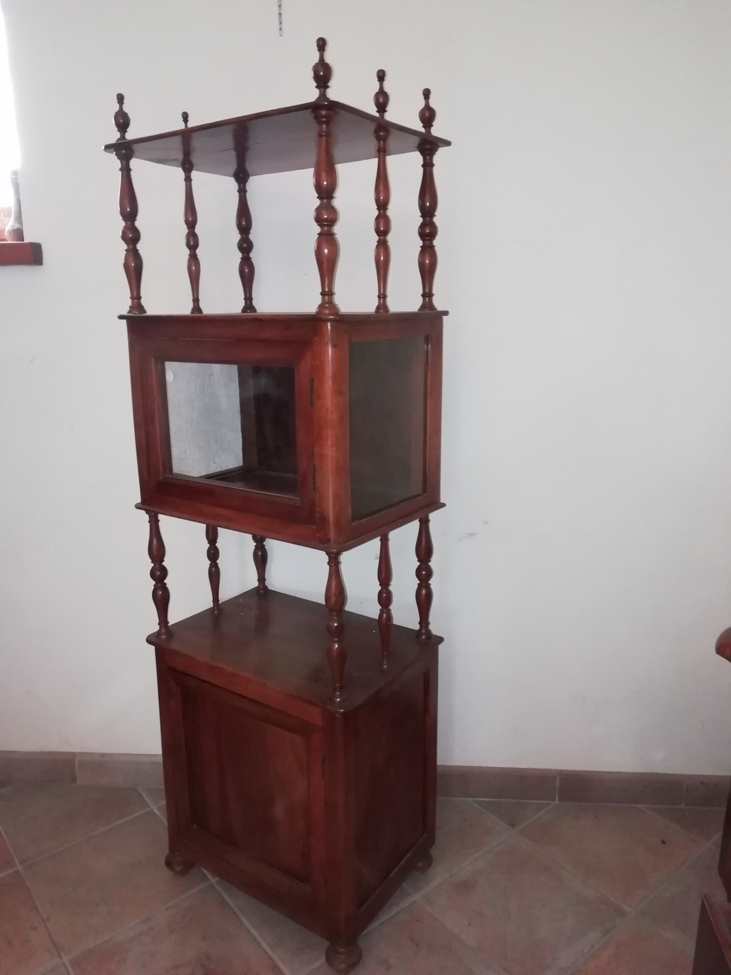Elegant and particular piece of furniture entirely in walnut door display case in the middle and shelves good condition mid 20th century