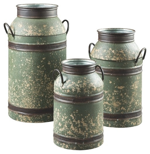 elke antique brown milk can set 3cn