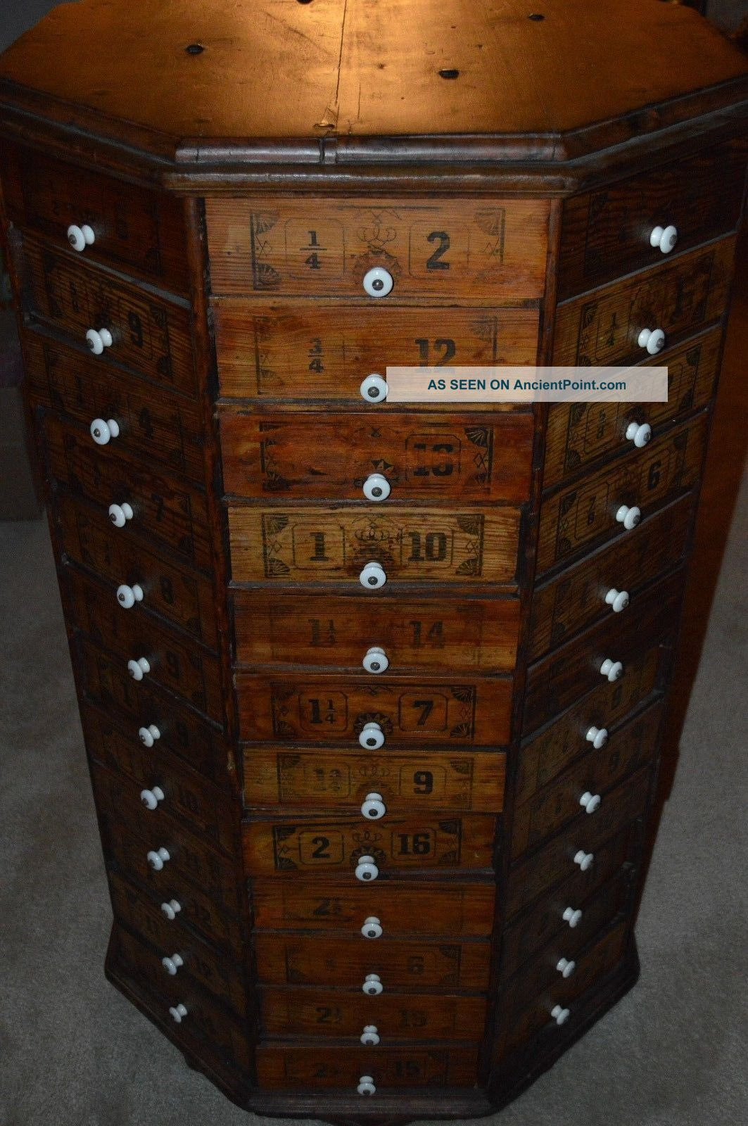 c1900 antique country store bolt and screw octagon hardware cabinet 96 drawer