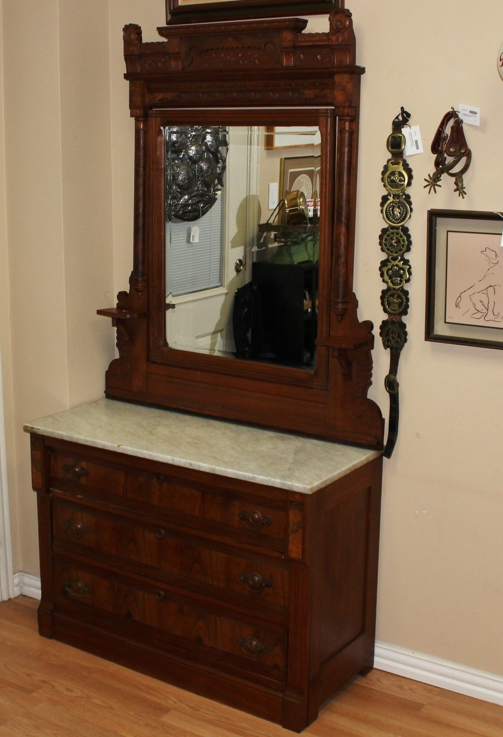 Antique Eastlake Burl Walnut Marble Top Dresser Tilt Mirror & Candle Shelves p
