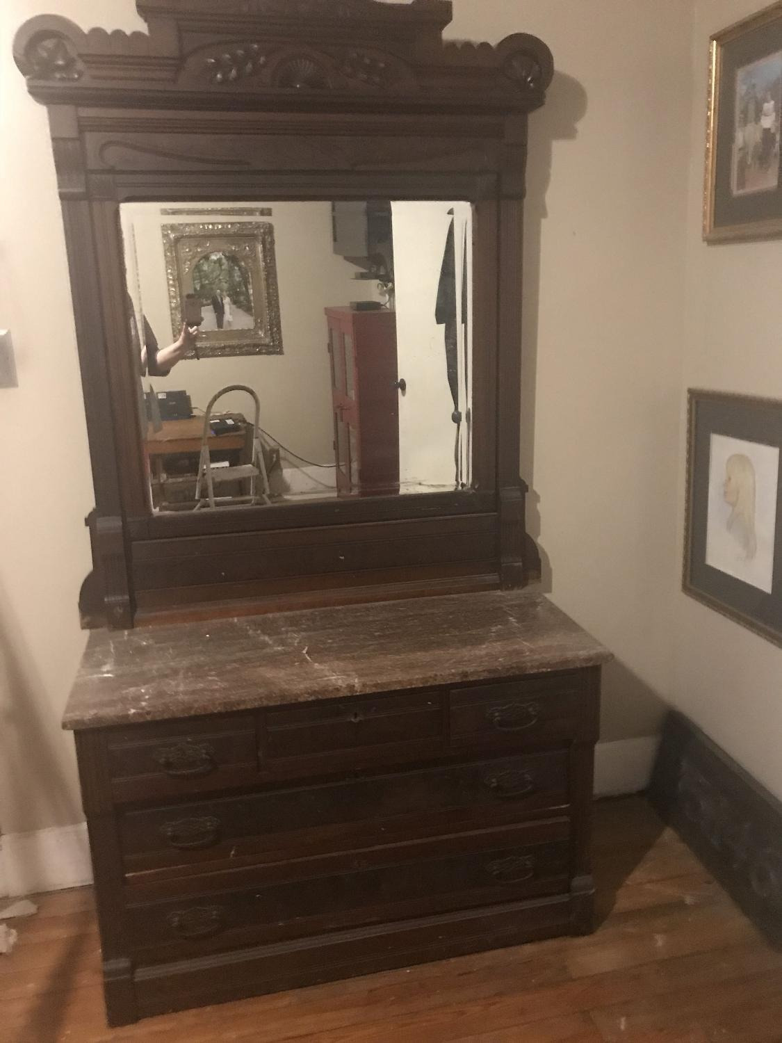 ftv45wpx antique dresser with mirror and marble top