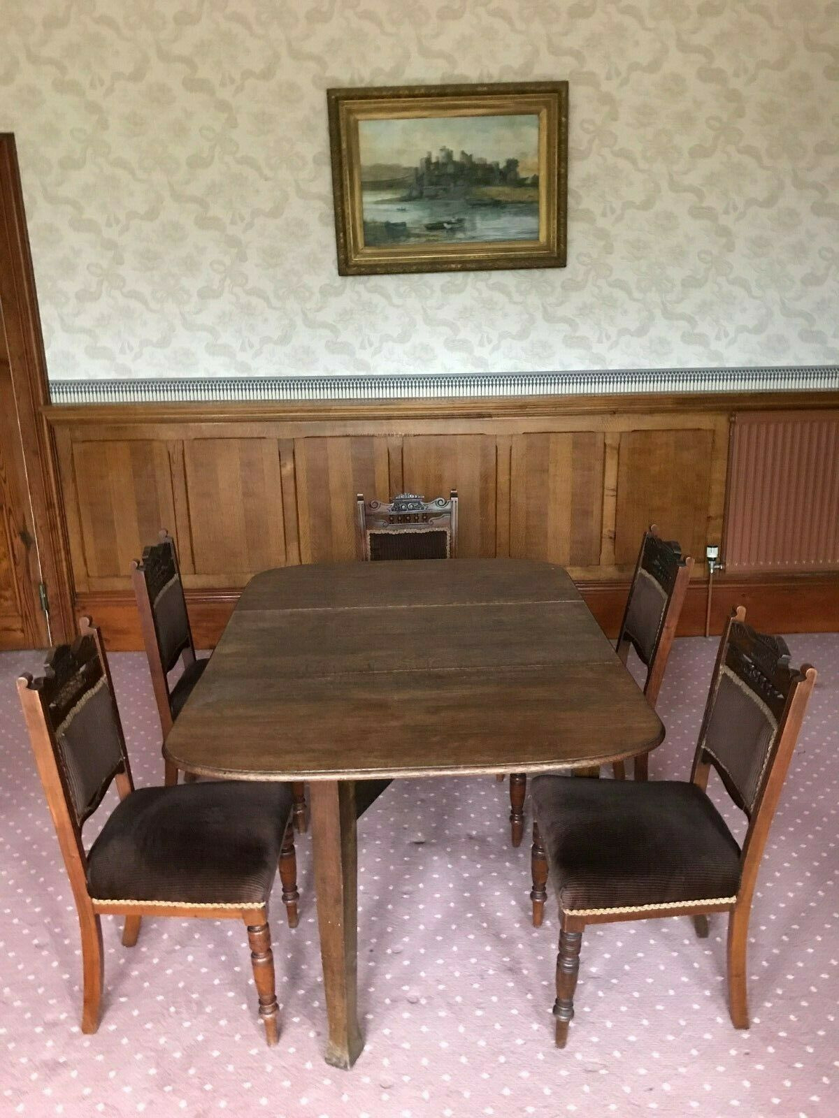 c 1900 antique victorian vintage solid oak kitchen dining table seats 4 people