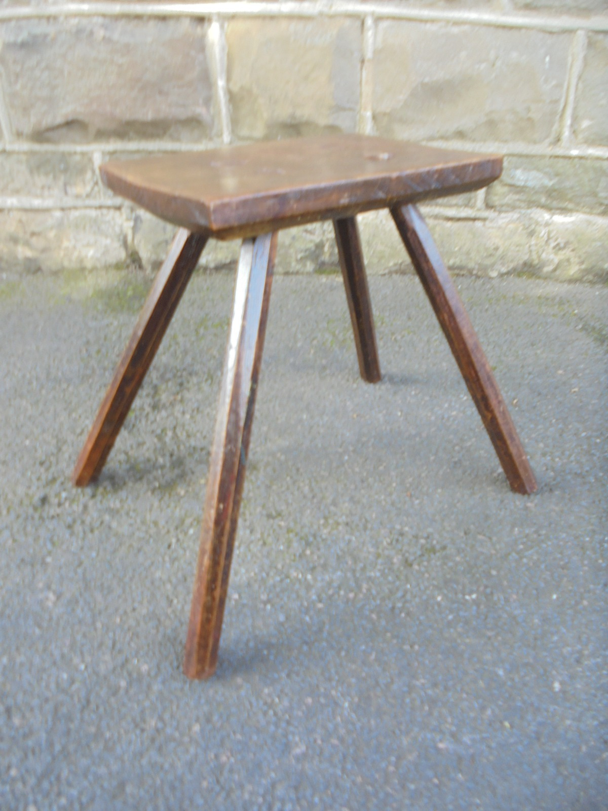 antique primitive elm stool c1800