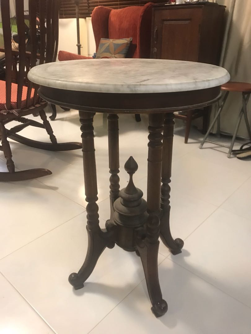 vintage marble top round table e4799f3b