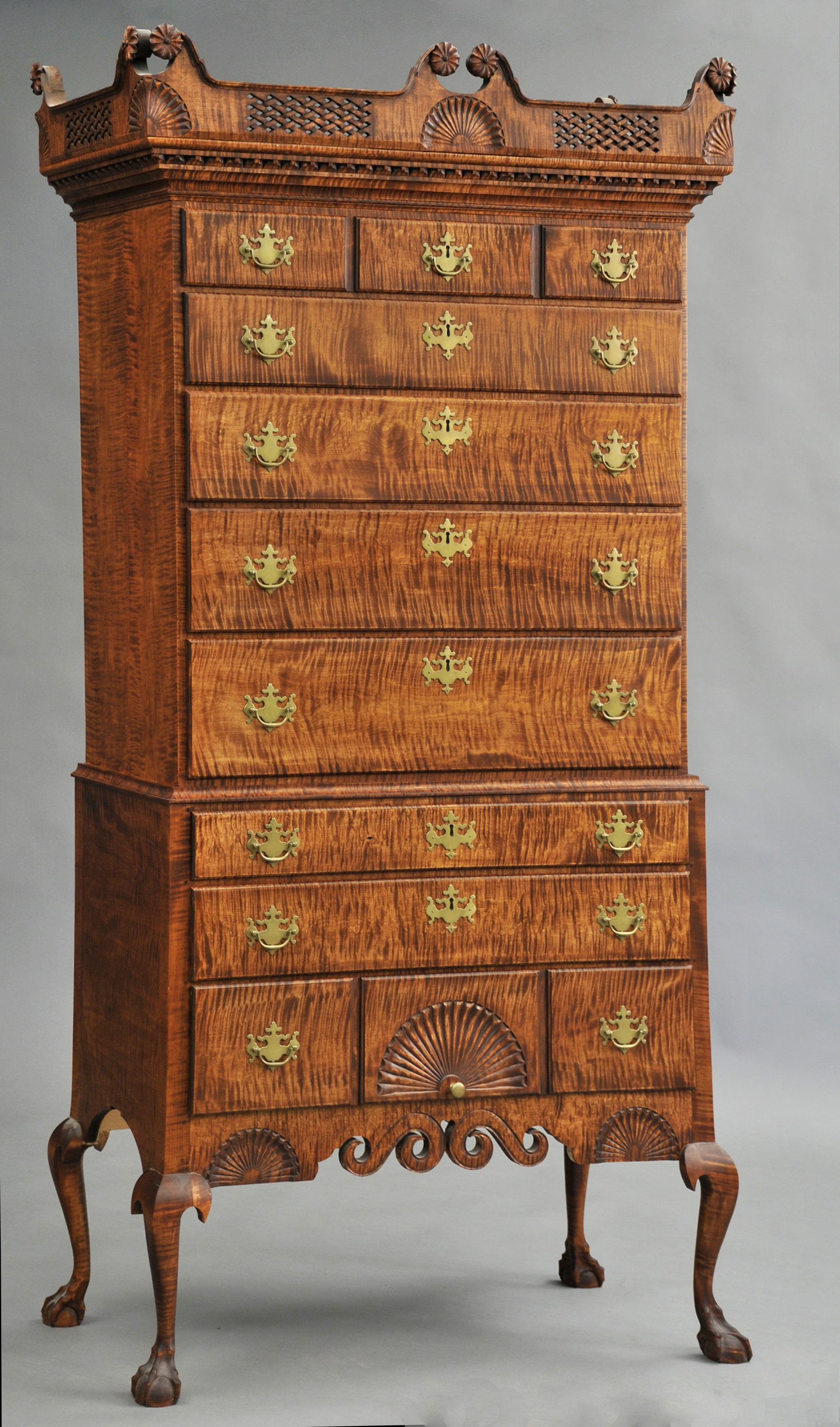 Tiger maple highboy by Donald Dunlap min