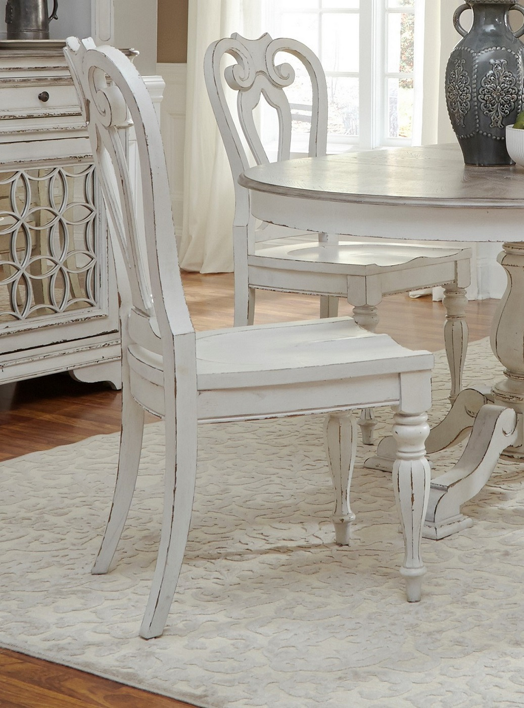 set of 2 magnolia classic wooden splat back side chairs in antique white finish 13