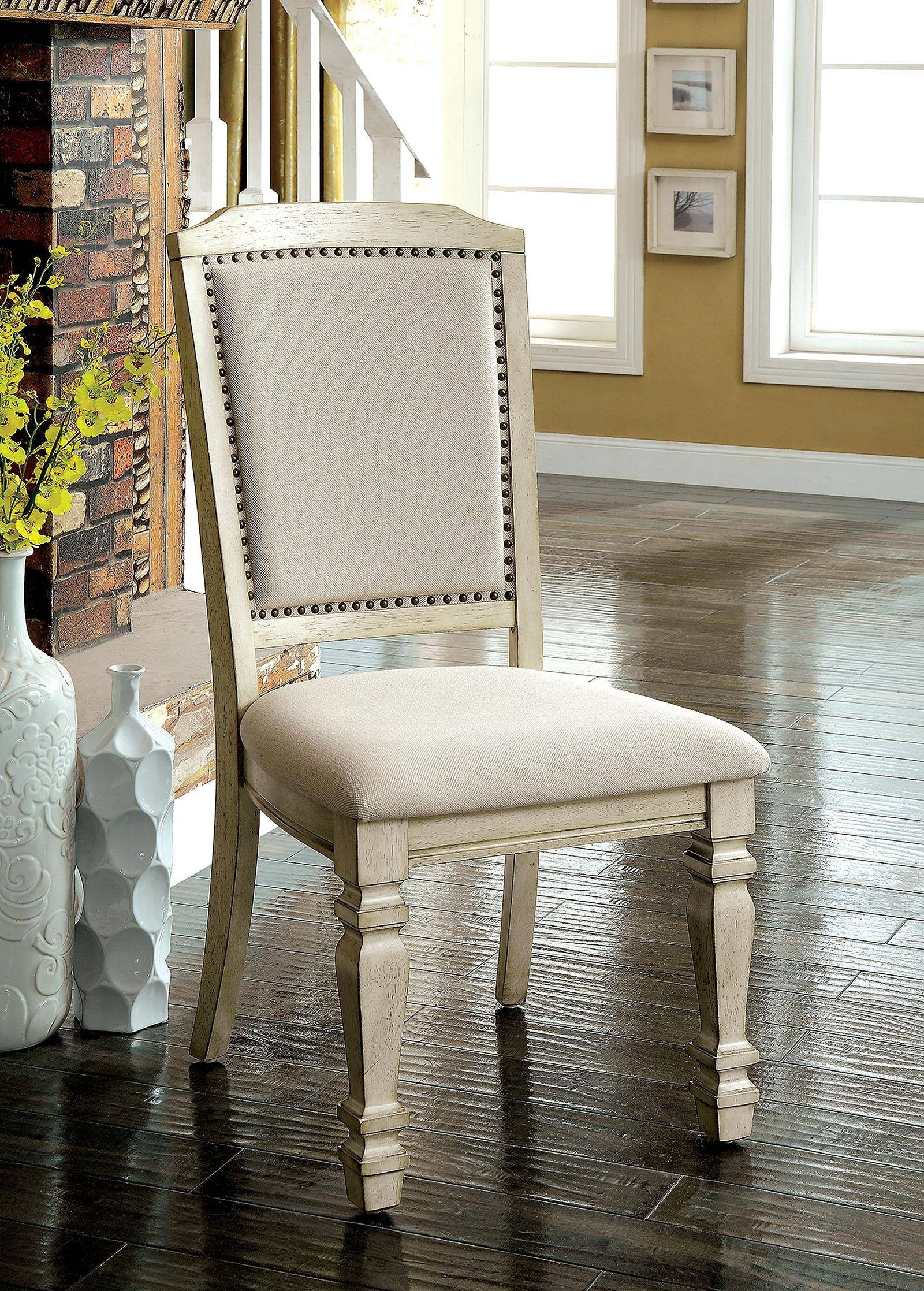 transitional antique white dining table set 9 pcs holcroft by furniture of america