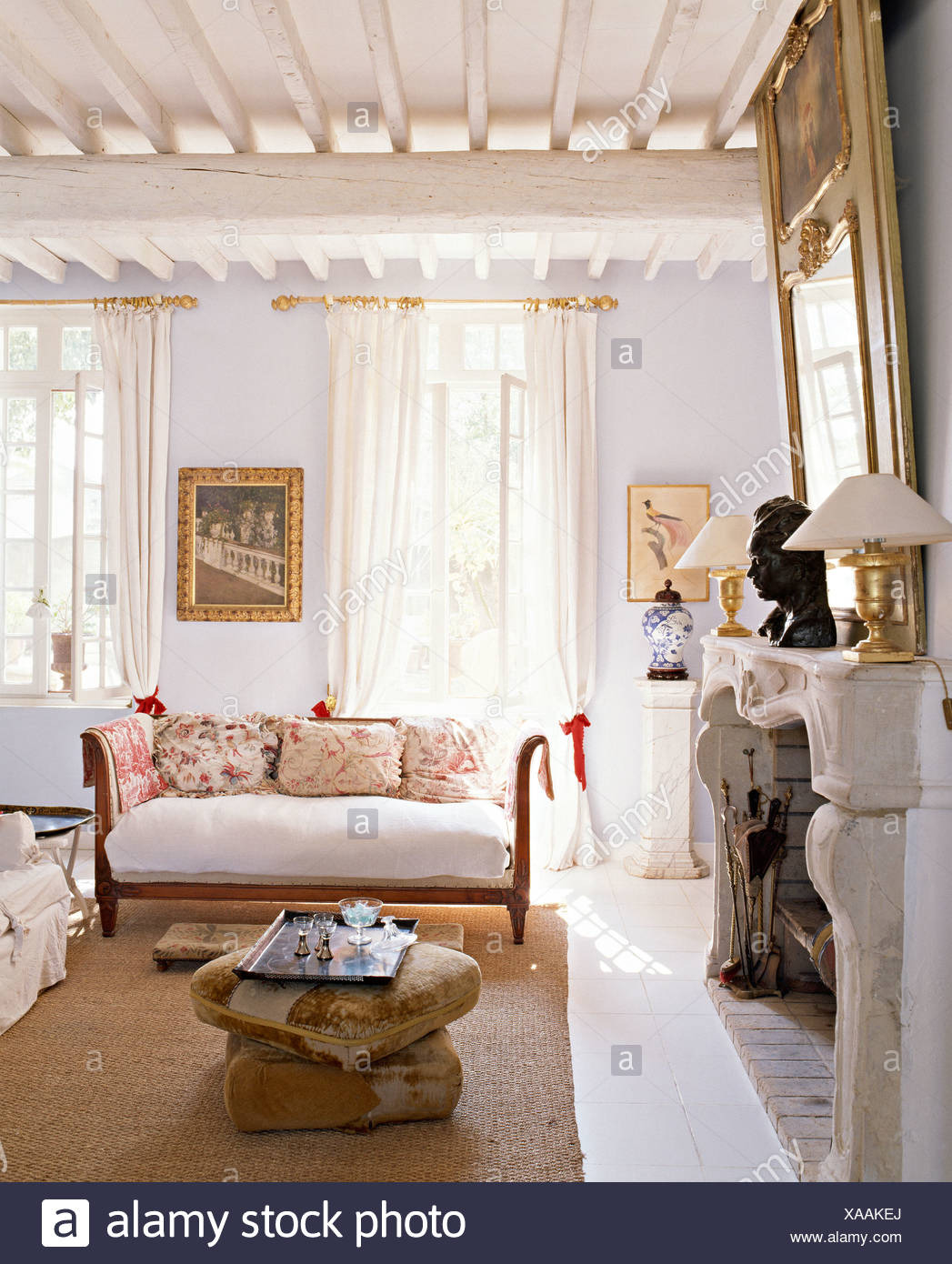 Antique White Living Room Furniture New Floor Cushions Beside Fireplace In Pale Blue French Country