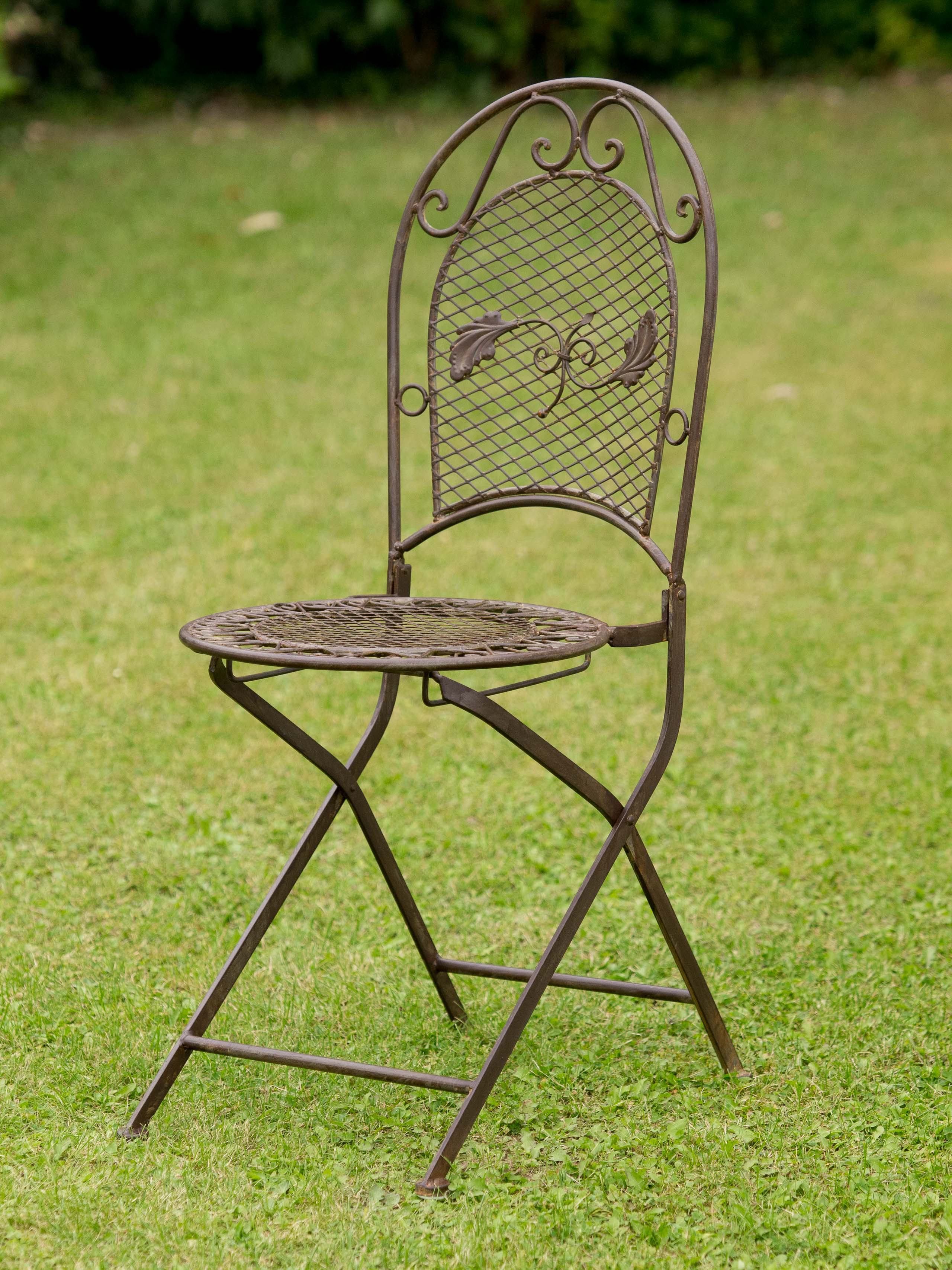 2x garden seat per 9kg wrought iron chair folding chair antique style brown